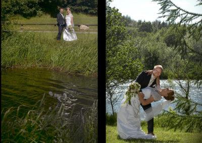 Bryllups foto collage med brudepar med vand henholdsvis i front og bag