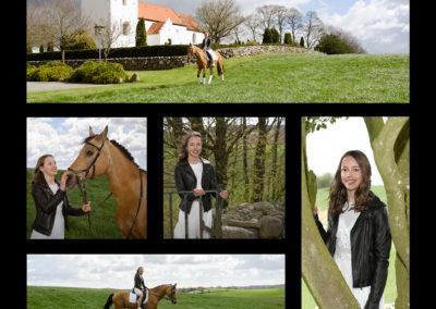 Konfirmationsbilleder i collage. Motiverne er brunhåret pige med hest i naturen