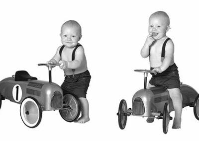 collage dreng med bil